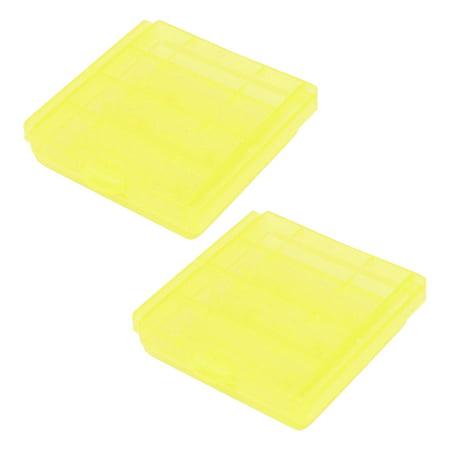 Akrobin Yellow Case - 2PCS Plastic Portable Case Holder Storage Box Yellow for 4 x 1.5V AA Batteries
