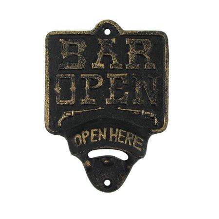 Cast Iron Bar Open Here Wall Mount Beer Soda Cap Bottle Opener ()