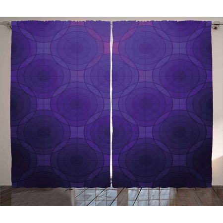 - Indigo Curtains 2 Panels Set, Geometric Circles Tile Like Detailed Image with Inner Details and Lines, Window Drapes for Living Room Bedroom, 108W X 84L Inches, Purple and Magenta Blue, by Ambesonne