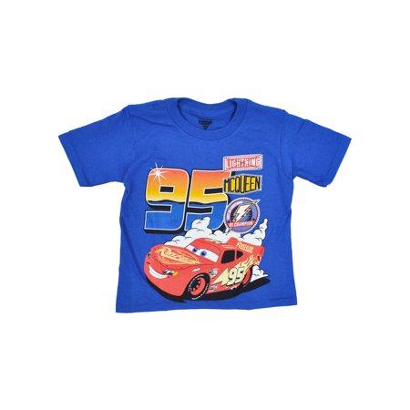 Toddler Boys Cars Lightning McQueen T-Shirt - Short Sleeve Blue