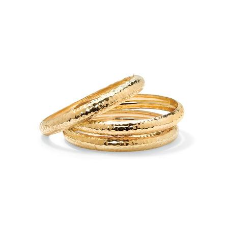 3 Piece Bangle Bracelet (Yellow Gold Tone Hammered 3-Piece Bangle Bracelet Set)