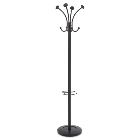 - Alba Viena Coat Stand, Eight Knobs, Steel, 16w x 16d x 70-1/2h, Black