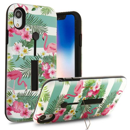 Apple iPhone XR (6.1 Inch) Phone Case Shockproof Hybrid Rubber Rugged Case Cover Slim with Silicone Strap & Metal Stand Tropical Flamingo Phone Case for Apple iPhone Xr (6.1