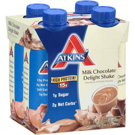 Atkins Milk Chocolate Delight Shake  11Fl Oz  4 Pack  Ready To Drink