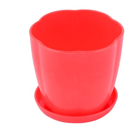 Home Office Garden Plastic Table Decoration Flower Plant Pot Planter Holder Red