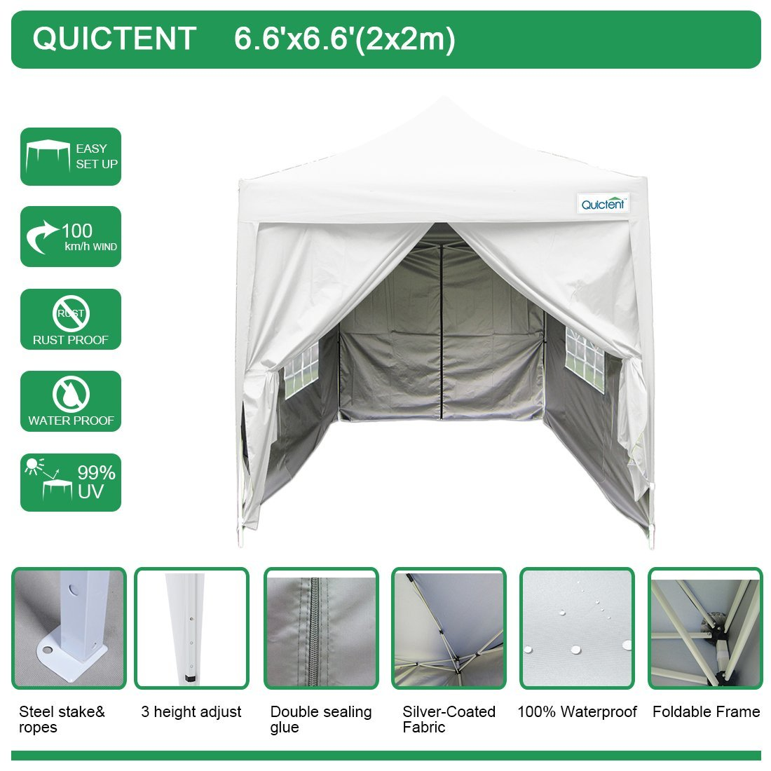 Quictent Silvox 6.6' x 6.6' EZ Pop Up Canopy Portable Waterproof Gazebo Pyramid Roof Beige by