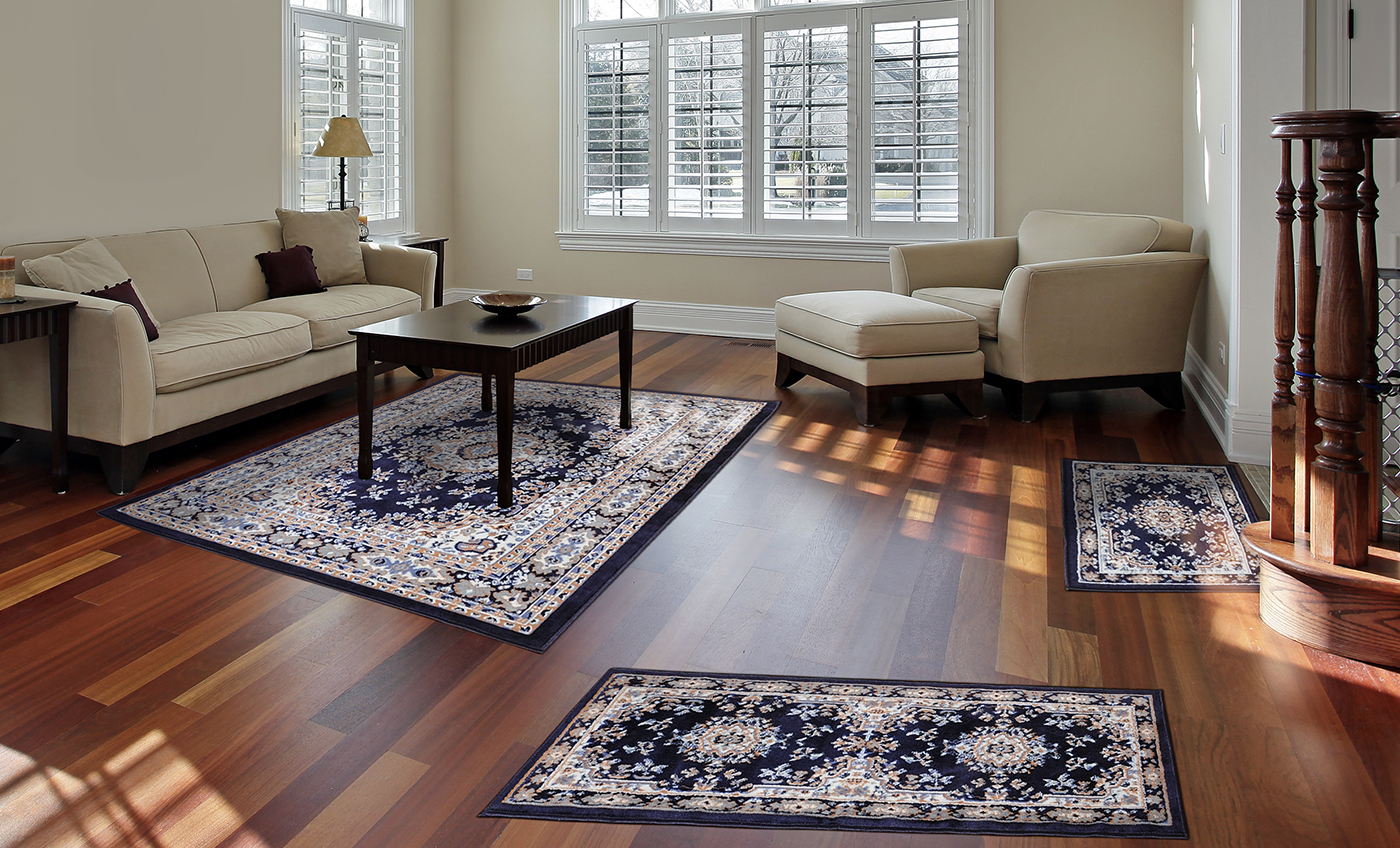 Traditional Persian Oriental Bordered 3pc Rug Set Runner Accent Mat Area