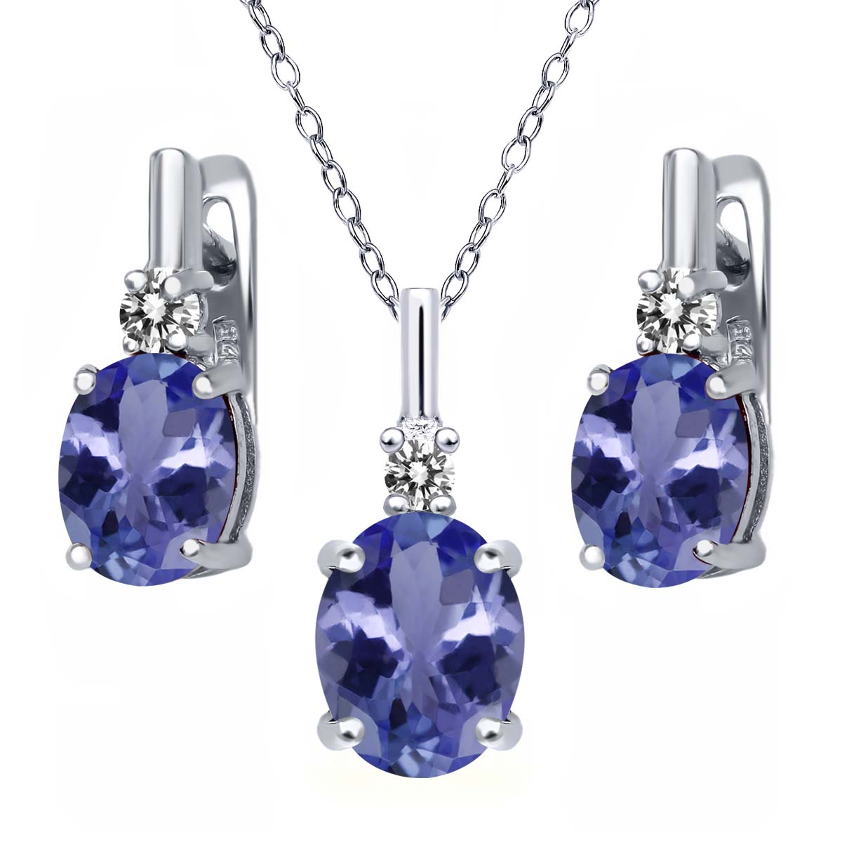 5.17 Ct Blue Tanzanite AAAA White Diamond 925 Silver Pendant Earrings Set by
