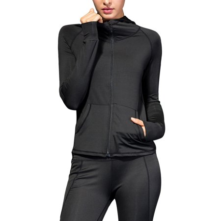 Plus Size Women Ladies Active Wear Jackets Hooded Zippper Jackets With Pockets Long Sleeve Full Zip, Fitness Sports Outwear Running Jogging Workout Coat Athletic Tops Casual Full Sleeved Beaded Jacket