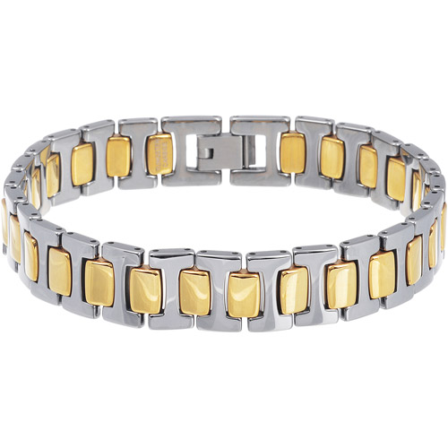 Daxx Men's Tungsten Two-tone Gold and Silver Link Bracelet