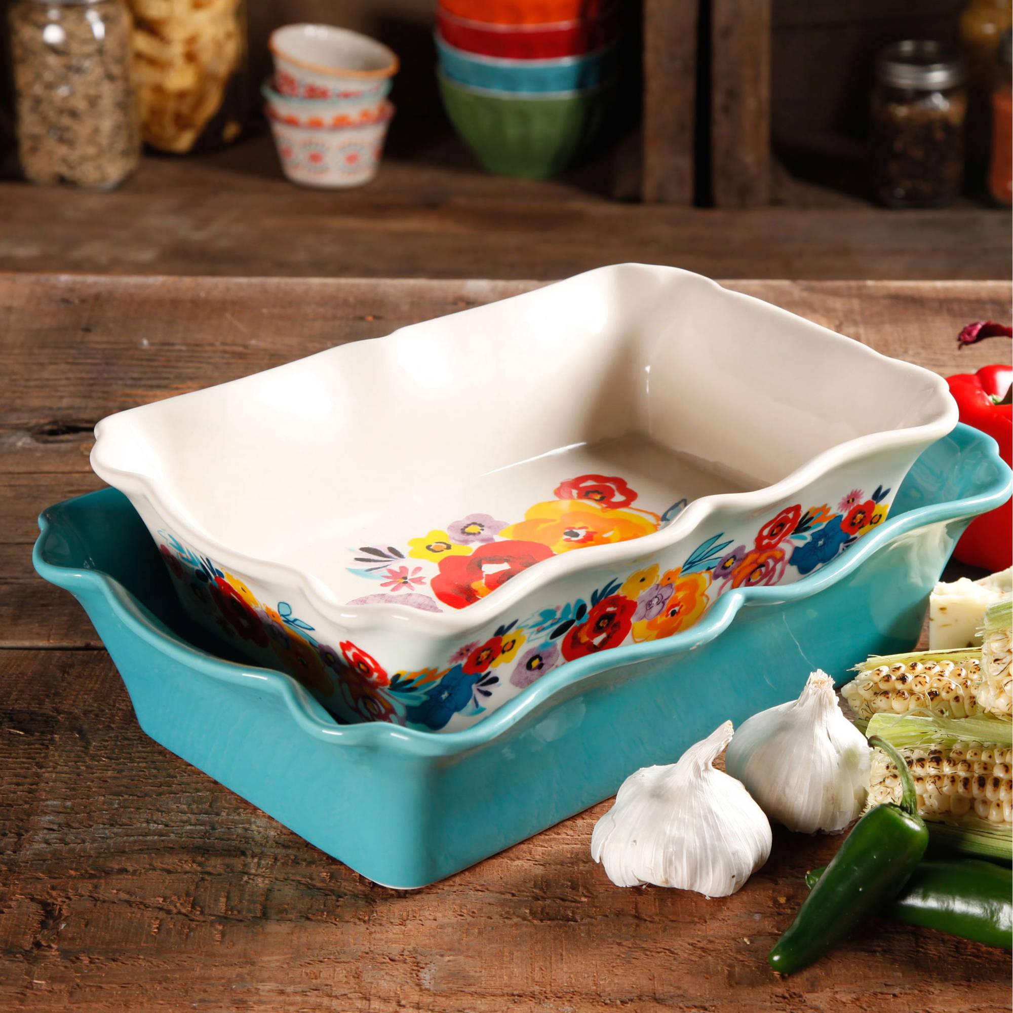 The Pioneer Woman Flea Market Rectangular Ruffle Top Ceramic Bakeware Set, 2.0 PIECE(S)