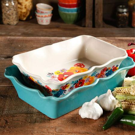 The Pioneer Woman 2-Piece Rectangular Ruffle Top Ceramic Bakeware