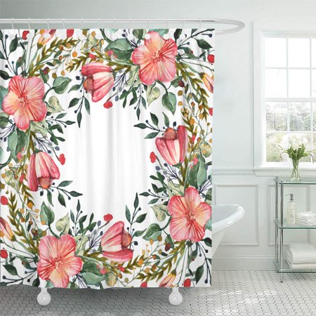 YUSDECOR Watercolor Colorful Flowers for The Media and Congratulations Weddings Bathroom Decor Bath Shower Curtain 66x72 inch - image 1 de 1