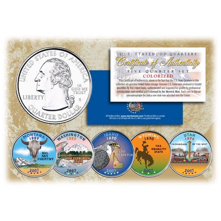 Tendre Set (2007 US Statehood Quarters COLORIZED Legal Tender 5-Coin Complete Set)