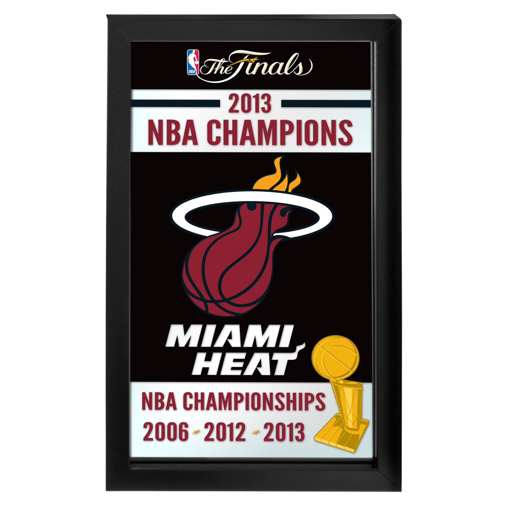 Trademark Gameroom Miami Heat 2013 NBA Champions NBA Framed Logo Mirror