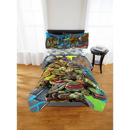 Nickelodeon Teenage Mutant Ninja Turtles Cross Hatching Twin or Full Comforter, 1 Each ()