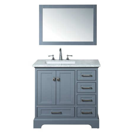 Stufurhome Newport 36 in. Single Sink Bathroom Vanity with Mirror (Bathroom Vanity Sink Mirror)