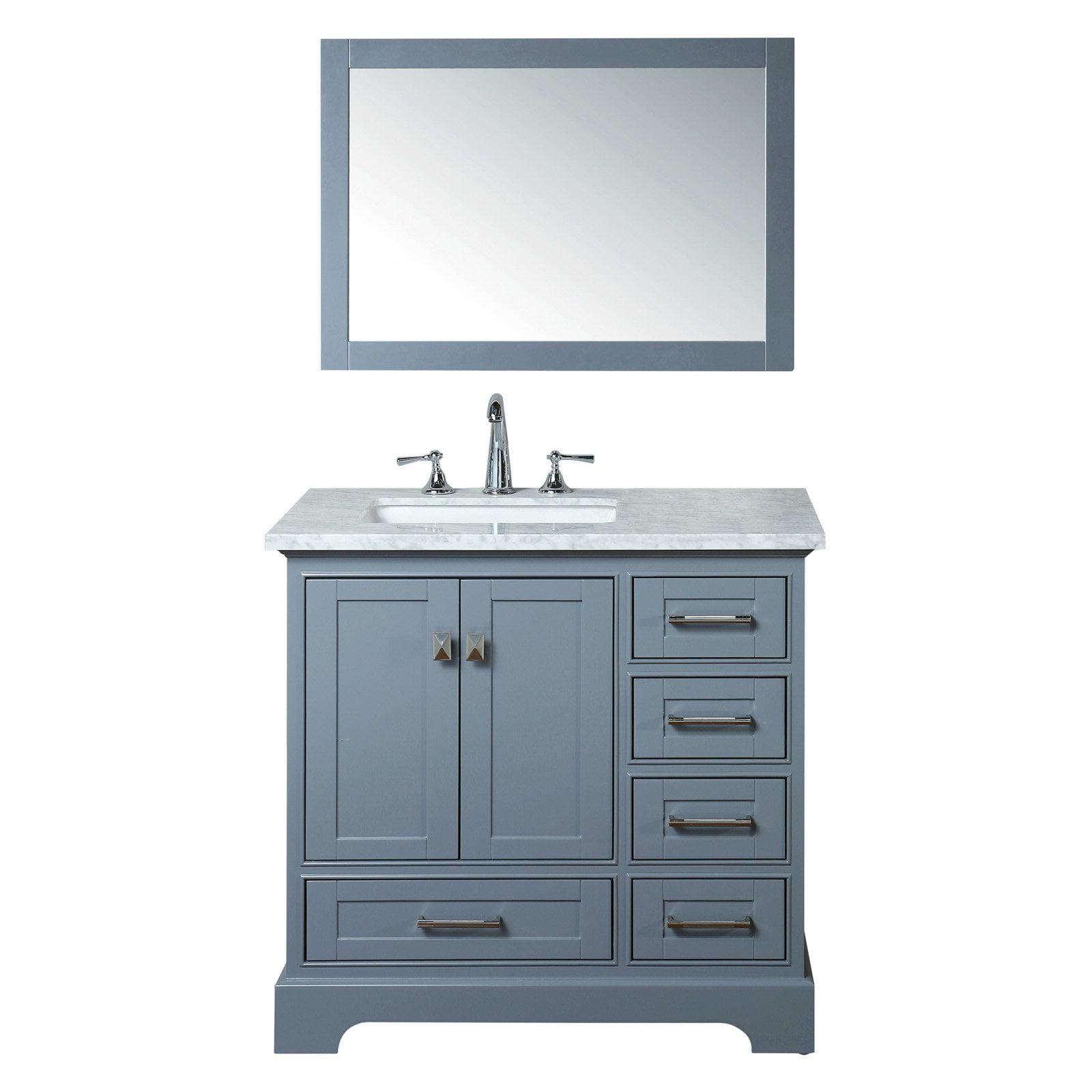 Stufurhome Newport 36 in. Single Sink Bathroom Vanity with Mirror