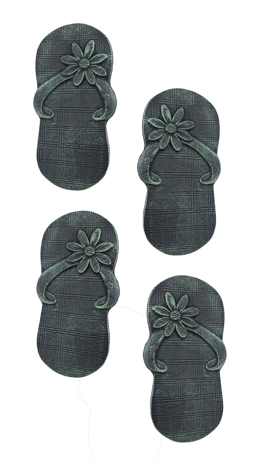 2 Pairs of Cast Iron Flip Flop Stepping Stones Verdigris Finish by Upper Deck, LTD
