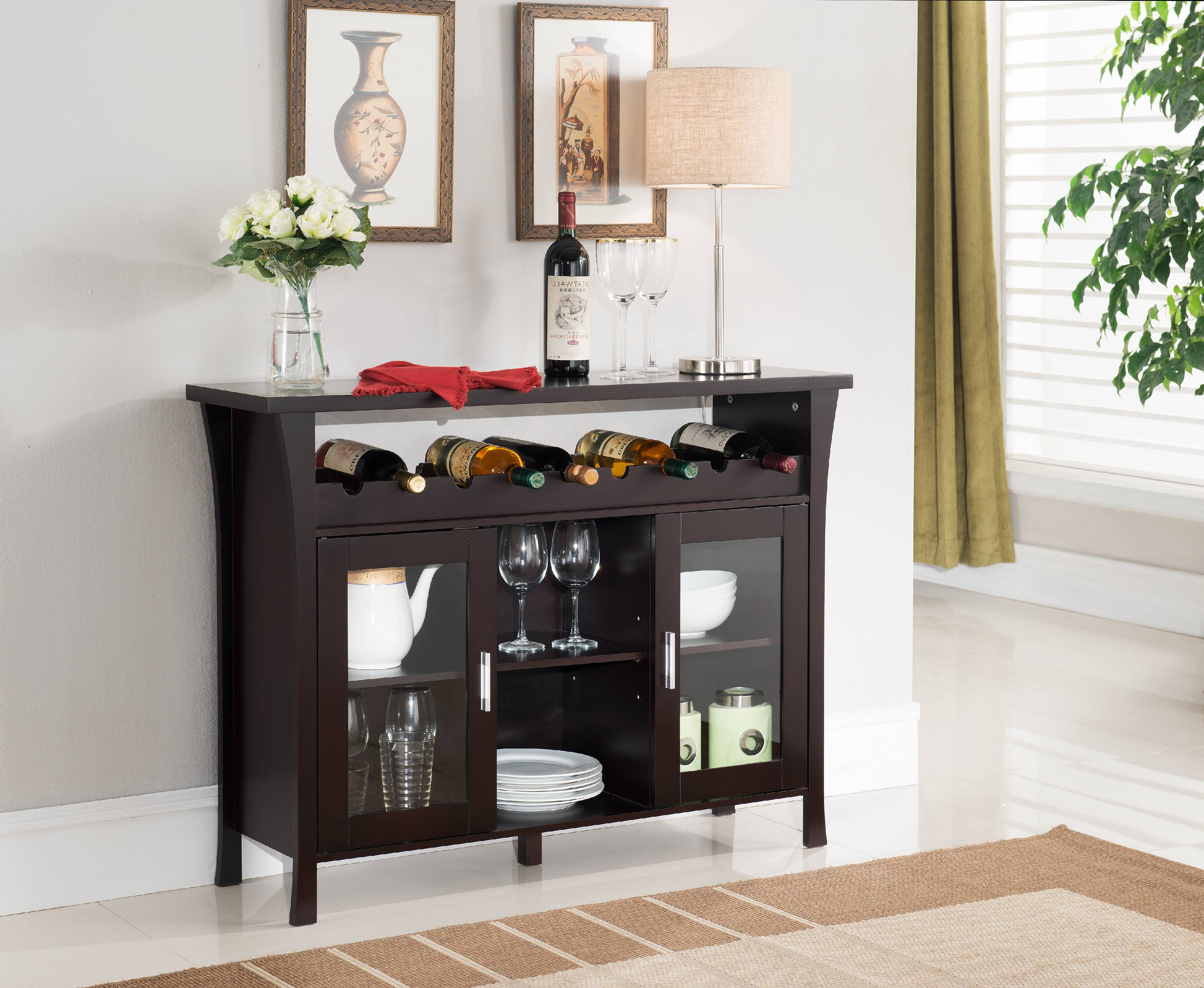 Richard Espresso Wood Contemporary Wine Rack Breakfront Sideboard Display  Console Table With Glass Storage Doors U0026