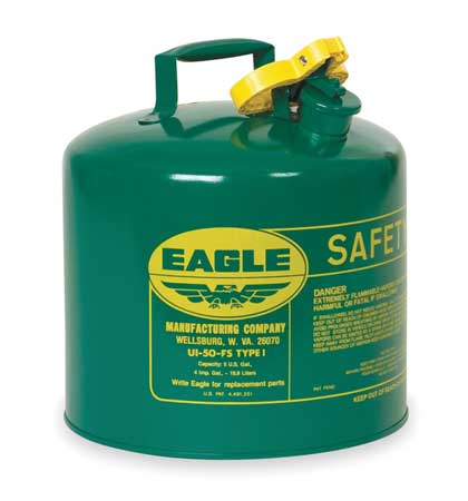 5 gal. Green Galvanized Steel Type I Safety Can, For Oil EAGLE UI-50-SG