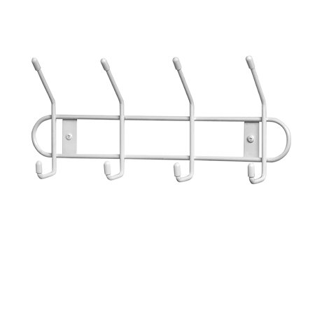 Wall Hook Rack, 4 Hook, White, Great for storing garage items such as hoses, extension cords, shovels and rakes By Spectrum