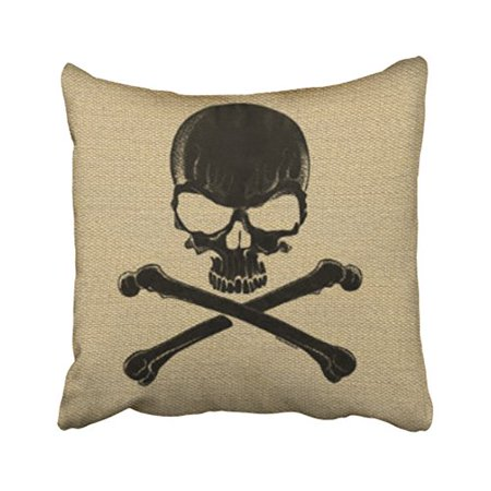 WinHome Vintage Abstract Skull Bone Cross Simple Pattern Halloween Polyester 18 x 18 Inch Square Throw Pillow Covers With Hidden Zipper Home Sofa Cushion Decorative Pillowcases](Halloween Bones Sayings)