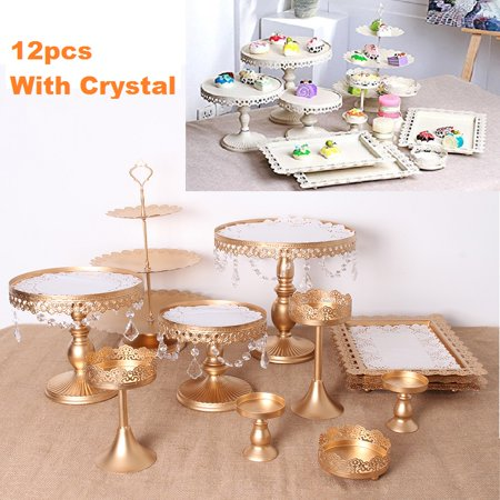 Set of 12 Pieces Cake Stands Iron Cupcake Holder Fruits Dessert Display Plate White for Baby Shower Wedding Birthday Party Celebration Home Decor Serving Platter](Thanksgiving Fruit Platter Ideas)