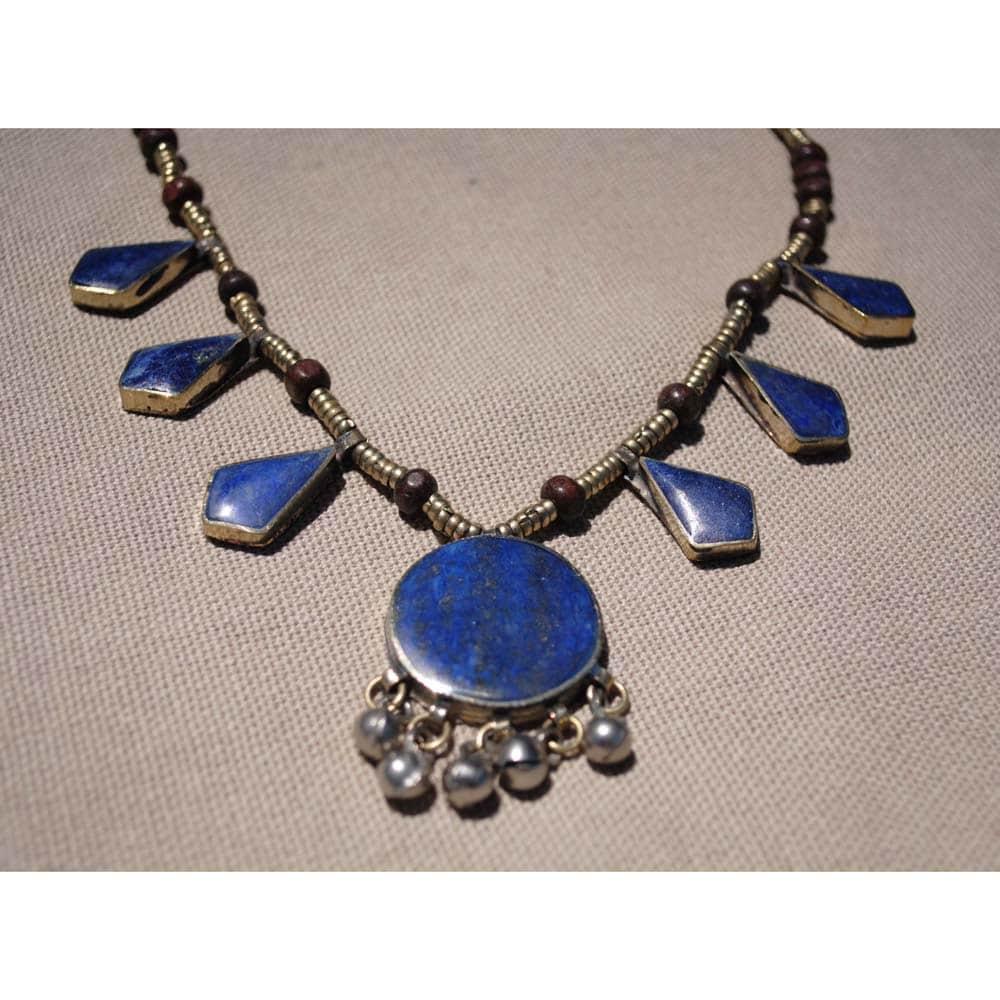 Herat Oriental Handmade Tribal Lapis Lazuli Necklace with 28mm Stone (Afghanistan)