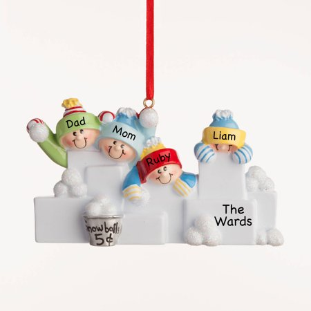 Personalized Christmas Ornament - Snowballs Family of -
