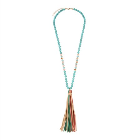 - Riah Fashion Bohemian Pendant Statement Long Necklace - Silky Thread Fan Tassel Strand Fringe, Teardrop