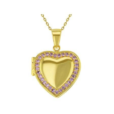 18k Gold Plated CZ Heart Shaped Locket Pendant Necklace Girls Teens 19