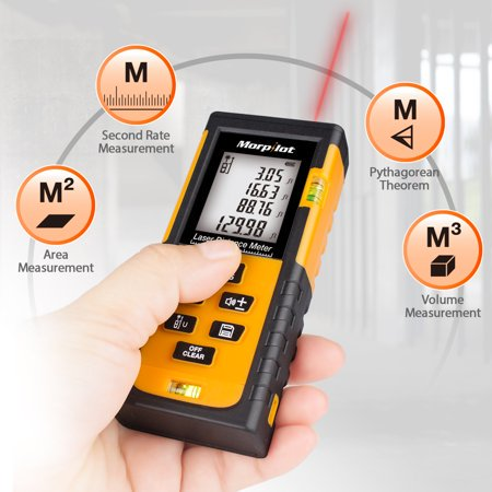 131ft Laser Distance Meter- Morpilot Laser Tape Measure/thermometer with Target Plate & Enhancing Glasses, Laser Measuring Device with Pythagorean Mode, Measure Distance, Area, Volume