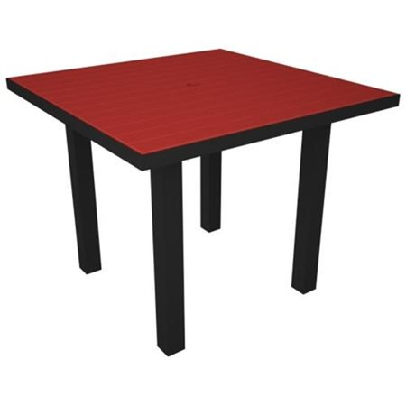 Poly Wood At36fabsr Euro 36 In Square Dining Table Black Aluminum Frame Sunset Red Walmart Com