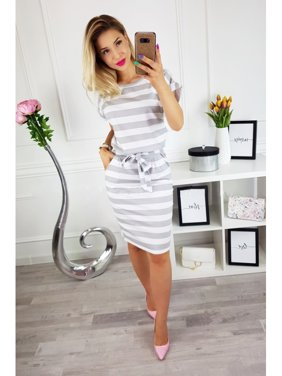 6dd5291b0b0 Product Image Summer Casual Women Dresses O-neck Short Sleeve Striped  Collect Waist Slim Fit Waist Belt