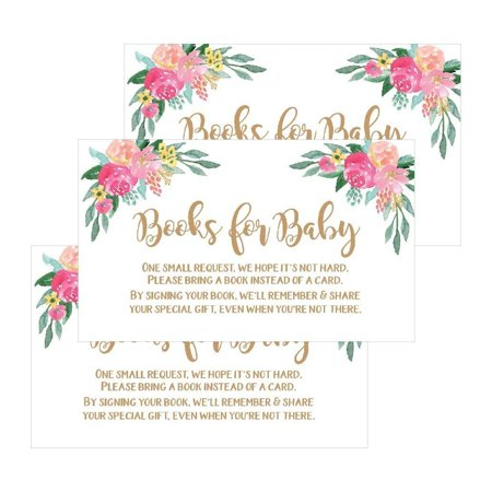 25 Flower Books For Baby Request Insert Card For Girl Gold Floral Baby Shower Invitations or invites, Cute Bring A Book Instead of A Card Theme For Gender Reveal Party Story Games, Business Card Size - Cheap Baby Shower Themes