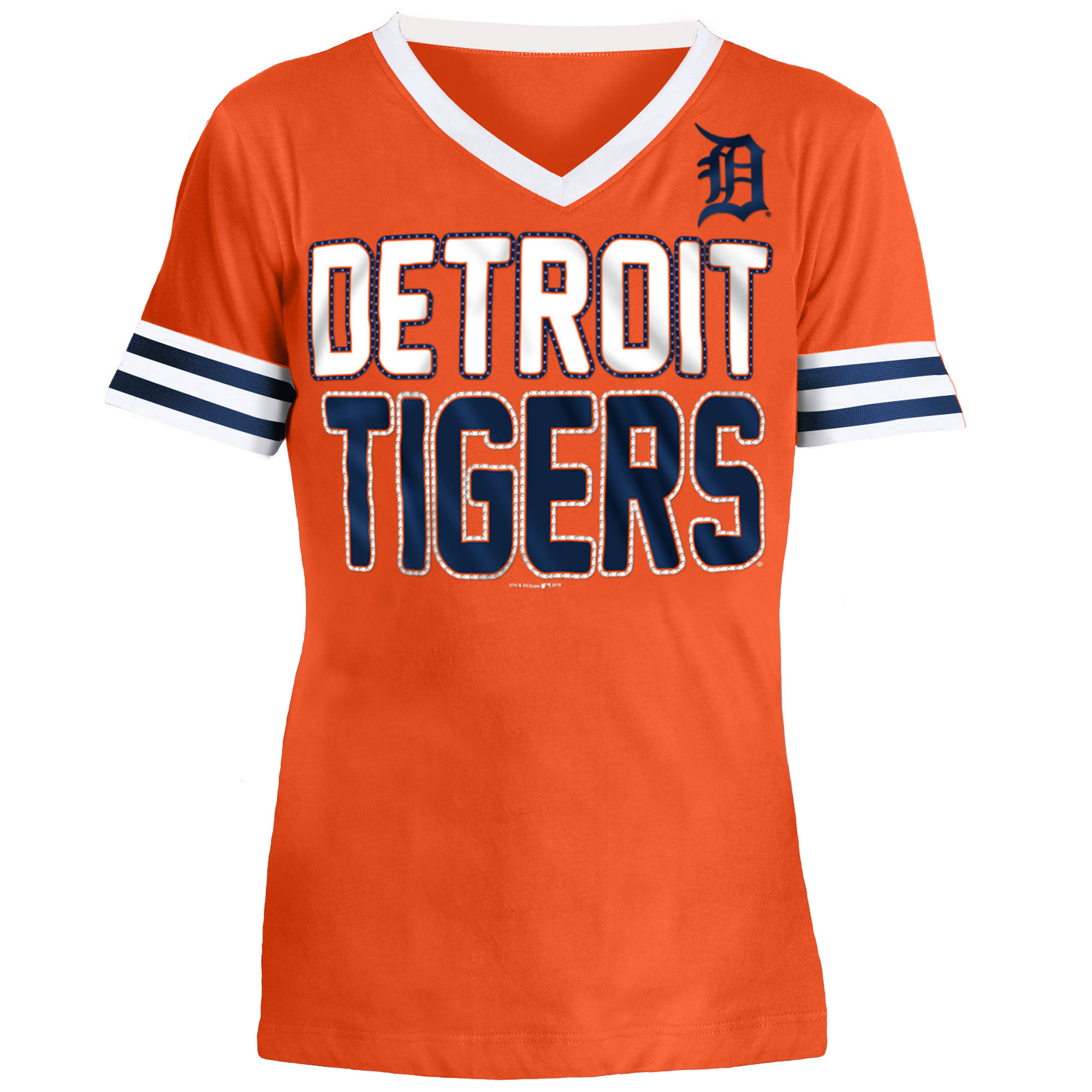Detroit Tigers 5th & Ocean by New Era Youth Jersey T-Shirt with Contrast Trim - Orange