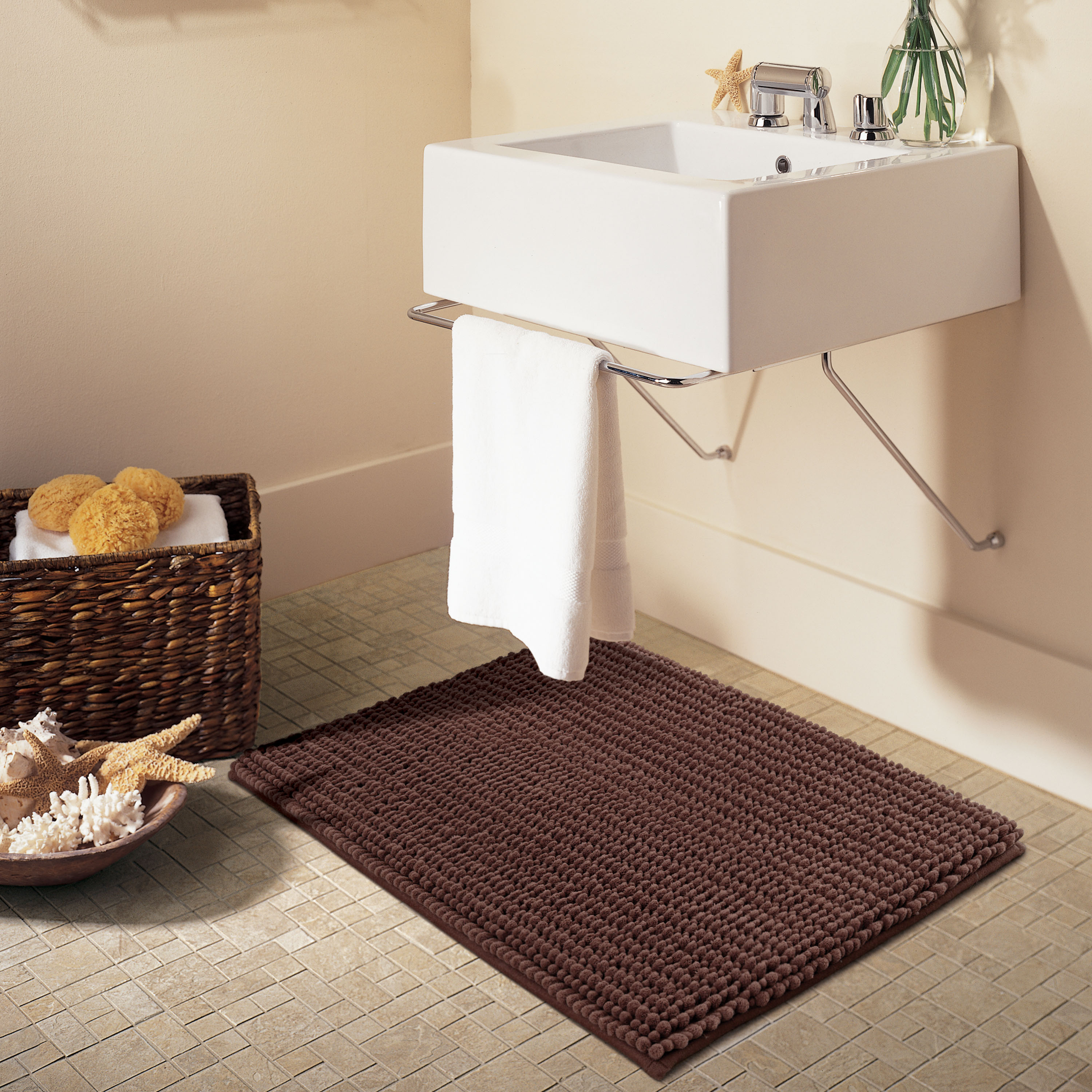 "Better Homes & Gardens Noodle Memory Foam Bath Rug, 17"" x 23.5"", Skid-resistant, Brown Basket"