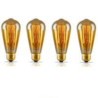 TORCHSTAR Dimmable Filament Vintage Light Bulbs, Golden Glass Incandescent Edison Light Bulb, ST64 for Floor Lamp, Pendant Lamp, Pack of 4