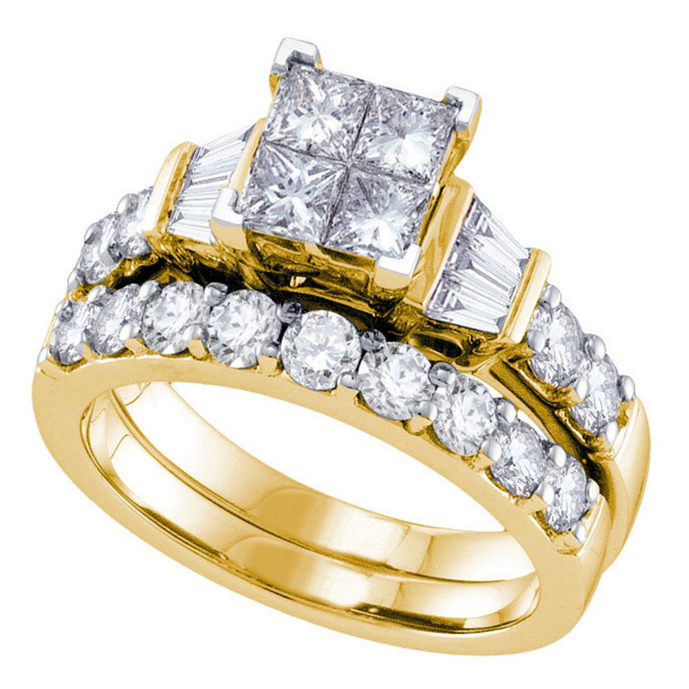 14k Yellow Gold Womens Princess Diamond Invisible-set Wedding Bridal Engagement Ring Set 1 Cttw by