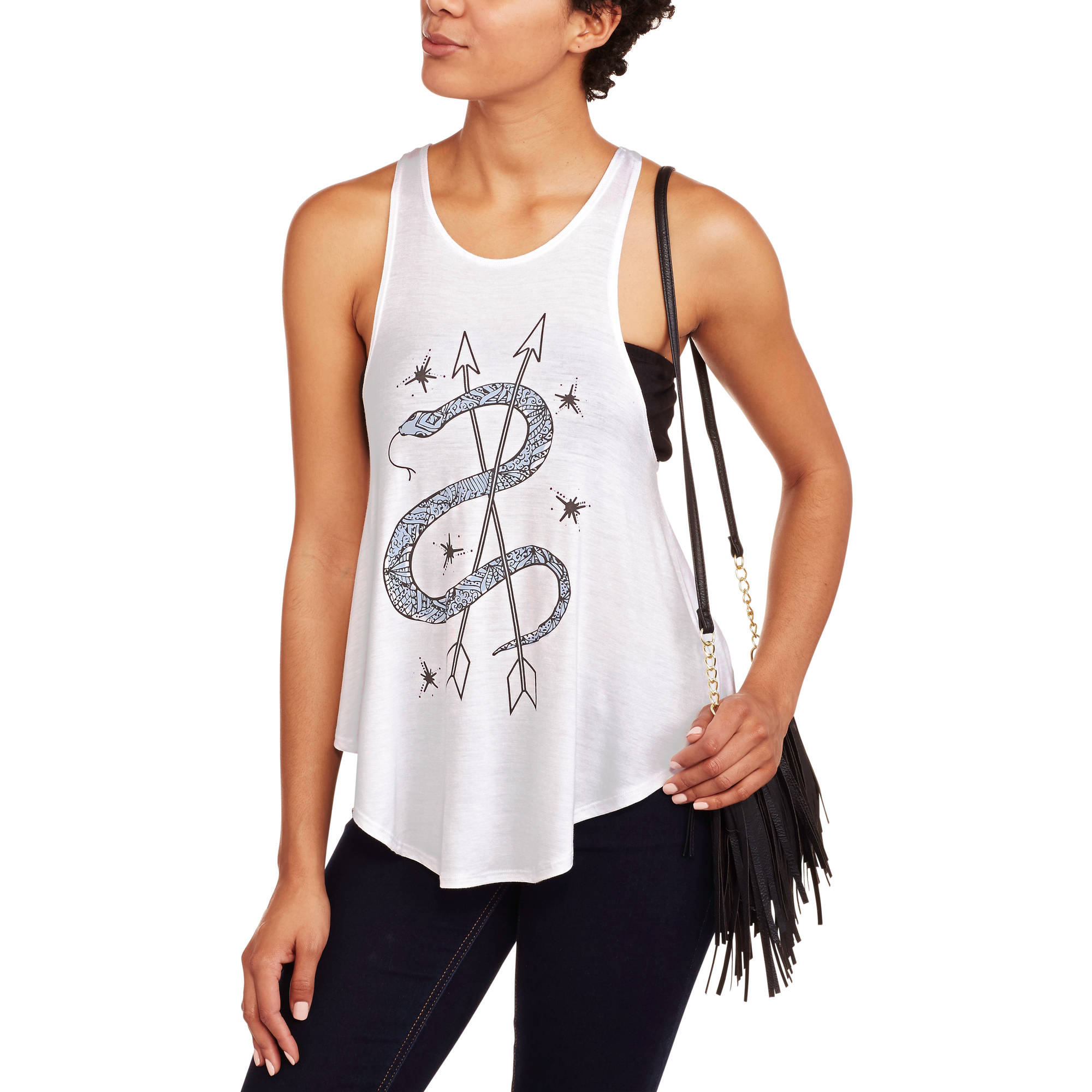 Juniors' Snake Arrows Graphic Loose Flaire Tank by Isaac Morris