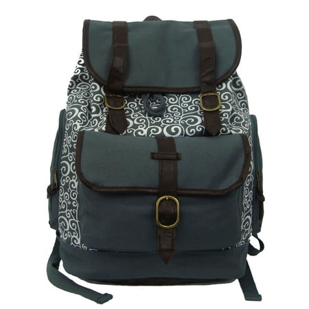 Canvas Bookbag Vintage Cotton Laptop Backpack Fashion Daypack Casual College Student Backpacks School Bag Fit 15 inch Laptop MacBook Chrome Book Ipad Quality Cute Schoolbag Travel Bags Grey