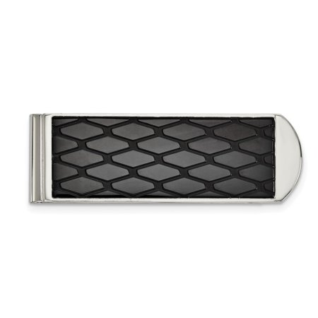 Stainless Steel Polished Black IP-plated Money Clip