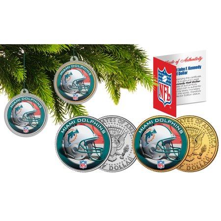 Miami Dolphins Colorized Jfk Half Dollar 2 Coin Set Nfl Christmas Tree Ornaments