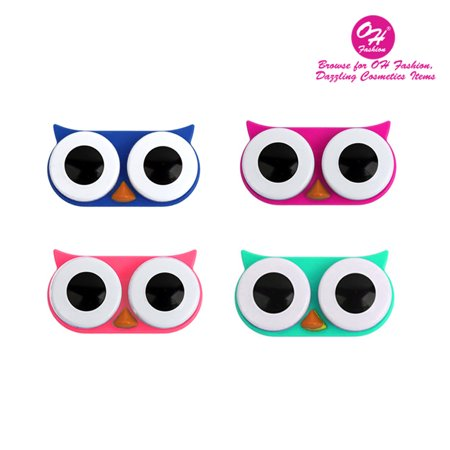 OH Fashion Contact Lens Case Owl Pack of 4 Several Colors Portable Case Travel Contacts Holder Container Contacts Solution 1 Eye Care - Theatrical Contact Lenses