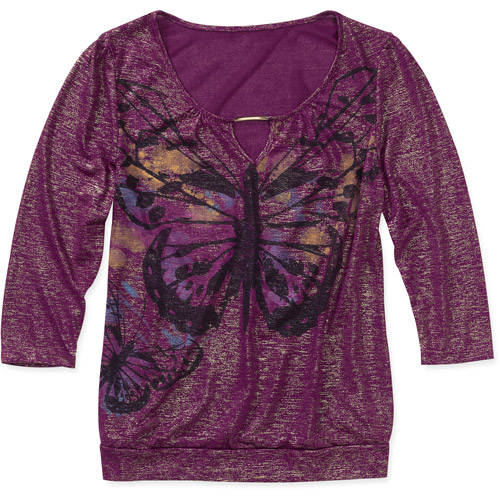 Women's 3/4 Sleeve Banded Bottom Graphic Top