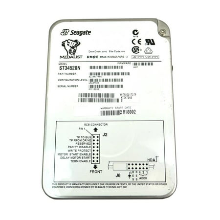 Connect Scsi Drive (9L1001-005 ST34520N Genuine Seagate Medalist 4.5GB 3.5