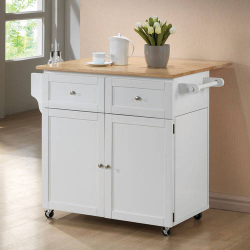 coaster two-toned kitchen cart - walmart