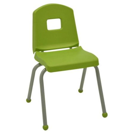Mahar 14CHRB-BM-SA-1 14 in. Creative Colors Split Bucket Chair with Matching Ball Glide, Sour Apple with Brushed Metal Frame Mahar Creative Colors