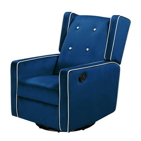 Manually adjustable 360 ° rotating recliner blue velvet
